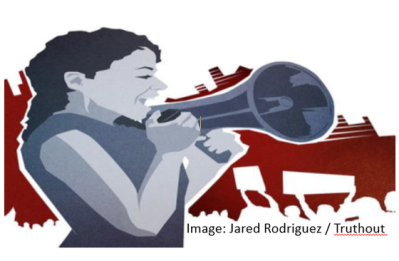Illustration of woman with bullhorn and image credit Jared Rodriguez /Truthout